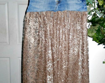 Vintage lace jean skirt sheer delicate taupe shimmery  boho chic feminine sexy bohemian altered Renaissance Denim Couture Made to Order