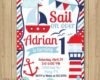 Nautical Boy Birthday Invitation, Sail Invitation, Boat Invitation, Anchor Invitation, Sailor Birthday Invitation, 1st Birthday