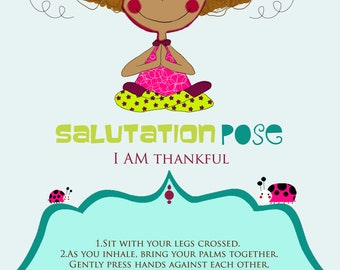 """4 Yoga Multicultural Poses Printable Cards, Yoga Cards, Yoga Poses, Kids Yoga Poses, Kids Yoga, Kids Yoga Party 4 x 6"""""""
