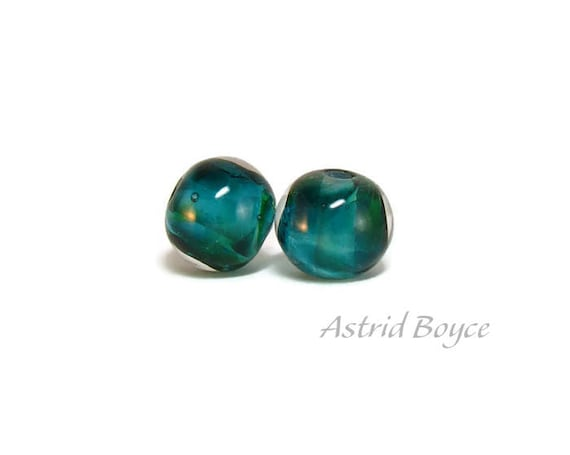 Teal Orbs artisan glass beads  -  Free USA Shipping - Macrame - Crafting -Make a Teal Necklace or Teal Earrings-Can use 2mm Cord -Blue Green