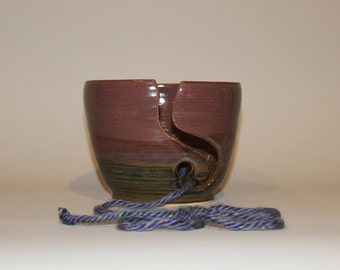 Large Purple and Copper Yarn Bowl
