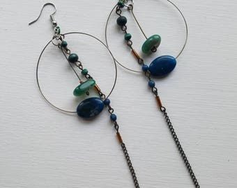 Moss Agate Hoop Earrings - Boho Style Green Agate Hoops - Long Chain Earrings - Moss Agate Jewelry - Wire Hoop Earrings - Heart Chakra