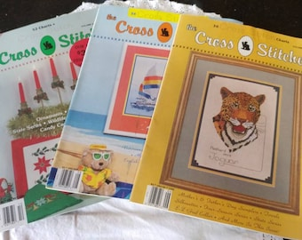 3 Vintage 'The Cross Stitcher' Magazines