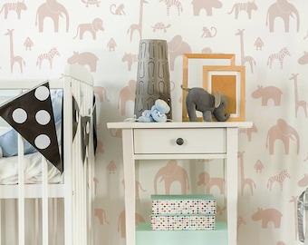 Zootopia wall stencil - Scandinavian Stencil, nursery stencil- woodland nursery DIY Stencil - Large wall stencil and Nursery decor