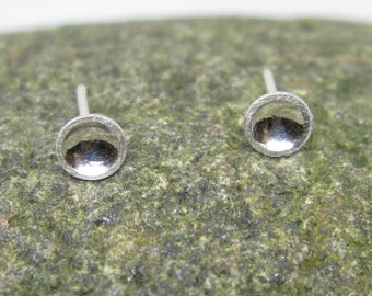 Tiny silver dish stud earrings
