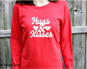 Hugs Kisses Valentine Shirt, Womens Long Sleeve Shirt, Valentines Day Shirt, Love Shirt, Heart Shirt, February Fashion