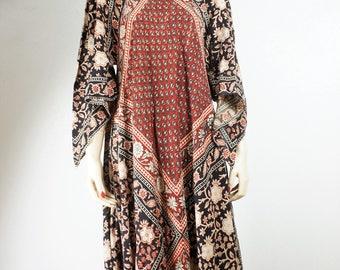 60s Vintage Adini Semi Sheer Cotton Dress / Hippie Adini Sheer Cotton Angel Sleeve Batik Caftan Dress OSFA / Bohemian Adini Phool Kayser