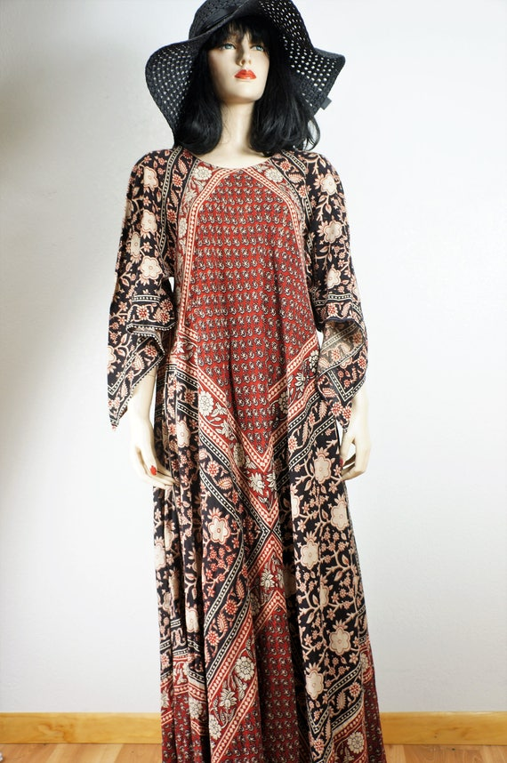 Adini Hippie Angel Adini Batik OSFA Semi 60s Caftan Cotton Cotton Sheer Adini Phool Bohemian Dress Sheer Sleeve Kayser Vintage Dress x4YTvw0