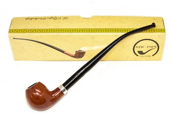 Long stem briar wood Hobbit smoking pipe Handmade tobacco pipe New unsmoked smooth apple shaped tobacco bowl Fathers Day gift Gift for Dad