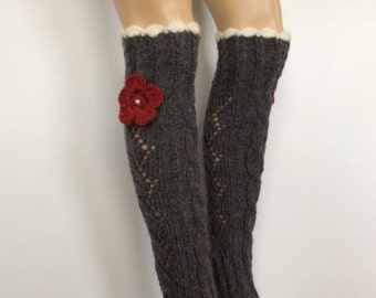 Leg Warmers with flower and crochet lace,SoftKnitted LegWarmers,,Women boot cuffs, leg warmers Dark Grey Color