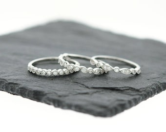 925 Sterling Silver Art Deco Stacking Ring