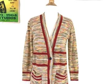 1970s space dyed sweater, vintage space dye cardigan sweater, retro 70s striped sweater, Jackie Burkhart earthy bohemian hippie sweater S/M