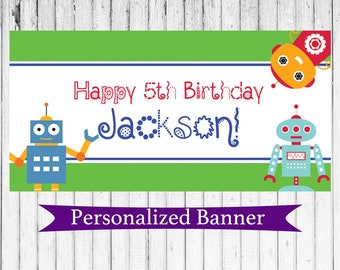 Robot Personalized Party Banner | Robot Party | Personalized Robot Banner | Robot Party Decor | 1st Birthday | Boy Birthday