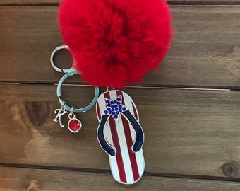 Red Pom Pom Flip Flop  Key-chain Flag USA Flipflop Key Chain birthstone Initial Keychain Patriotic Stars Red White Blue