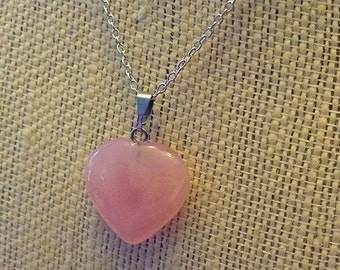 """Gorgeous Natural Pink Rose Quartz HEART Pendant Necklace - Sterling Silver 18"""" Chain - Natural Stone Necklace - Agate - Pink stone Neck"""