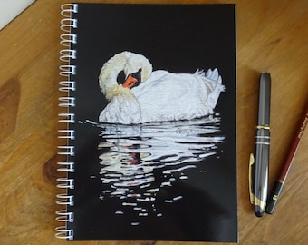 Swan A5 Lined or Plain 80 page Note book - Serenity - Original swan painting laminated cover - 80 page 100gsm cartridge or 90gsm lined paper