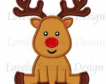 Christmas Reindeer Applique Machine Embroidery Design NO:0278