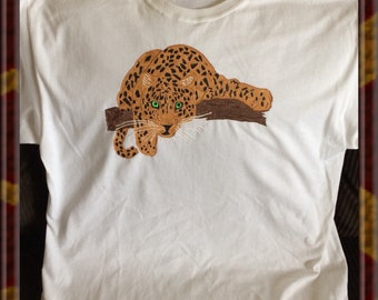 White Leopard Tshirt Hand Painted