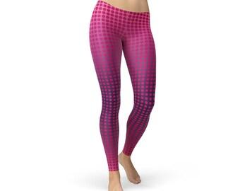 5fa621e9e9 Ombre Pink Polka Dots Women Leggings, Fabulous Yoga Leggings, Stretchable Athletic  Pants, Pink