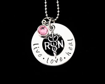 RN necklace / Nurses / Nursing Student / Nurse gift - Hand Stamped Stainless Steel pendant with Swarovski birthstone