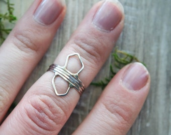 4 piece Crystal ring set | Silver stacking ring | Crystal cluster ring set | Thin ring | hammered stacking ring | Ring Set