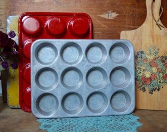Set of 2 Vintage Dozen Muffin Red Aluminum Metal Tin Cupcake Tray Pan Kitchen Decor Rustic Retro Baking Decor Holds 12