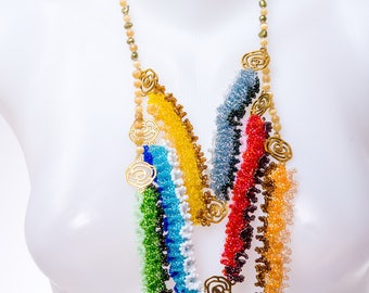 Colorful Necklace, colorful seed bead jewelry, multi color necklace, multi strand necklace, aztec necklace, tribal jewelry, chunky necklace
