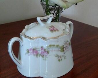 Antique Bavarian Sugar Bowl with Pink Flowers/ Victorian/ Shabby Chic/ Cottage Chic/ Farmhouse Chic/ Flower Vessel/ Wedding Decor