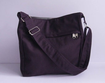 Sale - Deep Purple Canvas Bag - Shoulder bag, Diaper bag, Crossbody, Messenger bag, Tote, Travel bag, Women, Zipper - FAYE