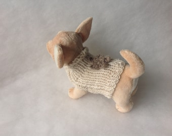 Alpaca Knit sweater chihuahua by nerina52 White milk Alpaca coat Puppy chihuahua or small dogs Winter High fashion for Puppy Gift for pets