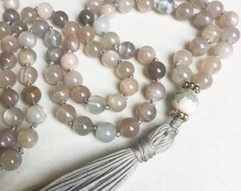 Moonstone Mala Necklace   Mala Beads   108 Mala Beads   Mala Jewelry   Prayer Beads   Meditation Beads   Boho Jewelry  