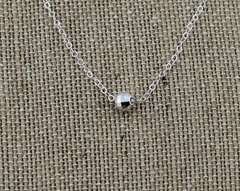 Sterling Silver, Mirror Focal Bead Necklace on a 16, 17, 18, 19 or 20-Inch, Sterling Silver Cable Chain; Dainty, Everyday Necklace, Gift