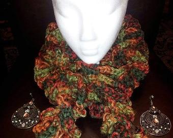 fall ruffled handmade crochet scarf.