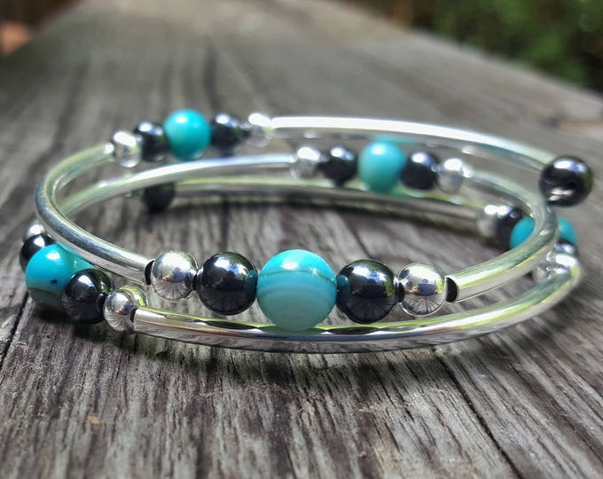 Teal Fight Night Memory Wire Bangle