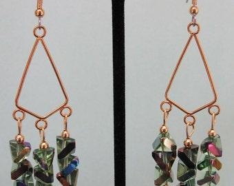 Rainbow AB Chevron Glass Chandelier Earrings