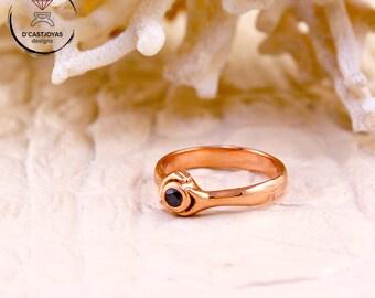 Anillo oro rosa diamante negro, Día de la Madre, Anillo solitario oro y diamante, Anillo compromiso, Anillo boda, Anillo artesanal