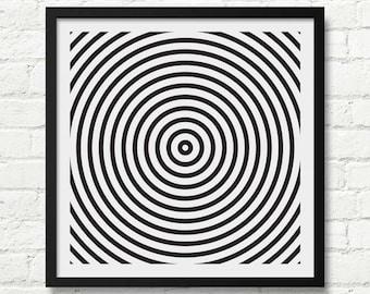 Optical Illusion Art, Black and White Art Print, Abstract Wall Decor, Optical Wall Art, Large Abstract Decor, Abstract Art, Optical Illusion