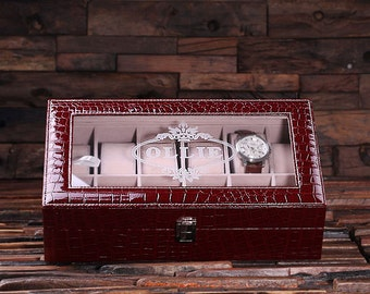 Set of 4 Watch Box  for Men Burgundy Chrocodile Personalized Christmas, Anniversary, Father's Day, Birthday, Graduation Gift