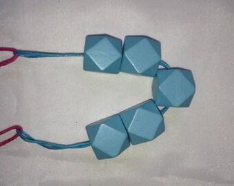 [Wood II] blue wood beads necklace