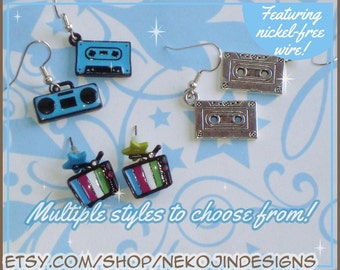 80s Retro Earrings - choose between surgical steel, plastic hooks, and clip-ons - cassette tape boombox television tv silver mini 90s music