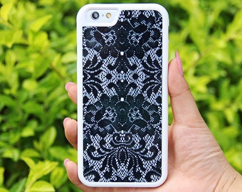 Black Lace Floral iPhone 6/6plus/5S/5/5C/4S/4 Tough Case,Samsung Galaxy S5/S3/S3/Note 3 Silicone Rubber Case