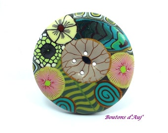 Button fancy 4.5 cm, flowers and leaves in shades of green, gold, yellow and beige.  4.5 cm.