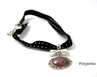 Cabochon 20mm black polka dot fabric Choker necklace white bow