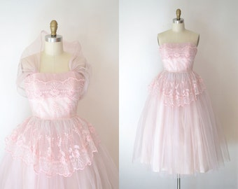 1950s Party Dress / 50s Pink Tulle Prom Dress / Connie Sage