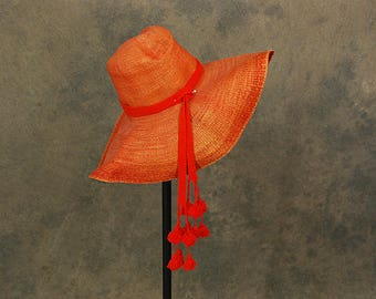 vintage 60s Floppy Staw Hat - 1960s Mod Orange Wide Brim Hat Bucket Hat Beach Hat Tassel Sun Hat