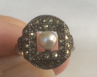 Marcasite & Pearl Sterling Ring