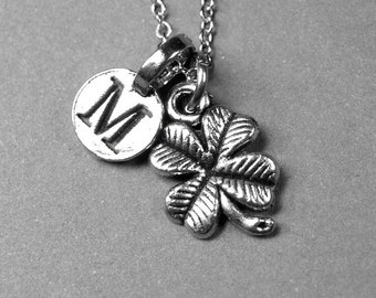 Four Leaf Clover Necklace, 4 leaf clover, lucky charm, silver plated pewter, initial necklace, initial hand stamped, personalized, monogram