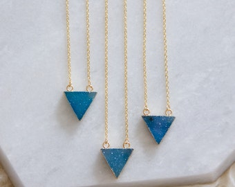 Triangle Turquoise Druzy Necklace