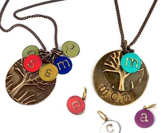 Mother Gift from Daughter   Initial Disc Necklace   Unique Gifts for Women   Personalized Jewelry   Circle Necklace with Initial   Mom Gift