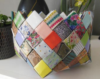 pretty paper basket magazine recycled